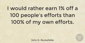 Business Quotes, John D. Rockefeller Quote About Inspirational, Money, Business: I Would Rather Earn 1...