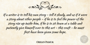 Hope Quotes, Orhan Pamuk Quote About Art, Craft, Given, Himself, Hope: If A Writer Is To...