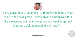 Rio Ferdinand Quote About Hangover, Animal, Player: If Any Player Has A...