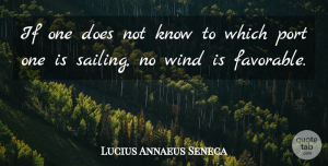 Business Quotes, Lucius Annaeus Seneca Quote About Business, Port, Wind: If One Does Not Know...
