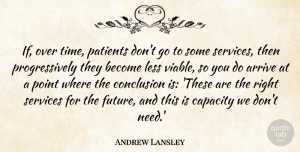 Future Quotes, Andrew Lansley Quote About Arrive, Capacity, Conclusion, Future, Less: If Over Time Patients Dont...