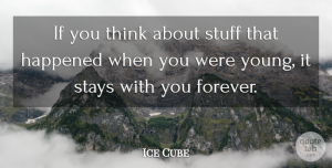 Ice Cube Quote About Thinking, Forever, Stuff: If You Think About Stuff...