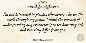 Cate Blanchett Quote About Character, Journey, Thinking: Im Not Interested In Playing...