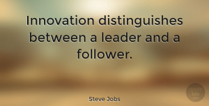 Life Quotes, Steve Jobs Quote About Inspirational, Life, Motivational: Innovation Distinguishes Between A Leader...