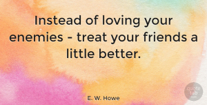 Friendship Quotes, E. W. Howe Quote About Friendship, Enemy, Littles: Instead Of Loving Your Enemies...