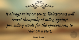 Travel Quotes, Dave Barry Quote About Travel, Rain, Opportunity: It Always Rains On Tents...