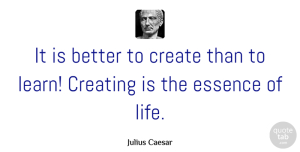 Learning Quotes, Julius Caesar Quote About Life, Business, Learning: It Is Better To Create...