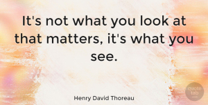 Positive Quotes, Henry David Thoreau Quote About Inspirational, Motivational, Positive: Its Not What You Look...