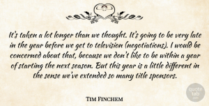 Extended Quotes, Tim Finchem Quote About Concerned, Extended, Late, Longer, Next: Its Taken A Lot Longer...