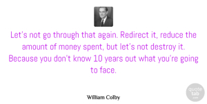 Amount Quotes, William Colby Quote About Amount, Destroy, Money, Reduce: Lets Not Go Through That...