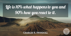 Charles R. Swindoll Quote About Happens, Life, Motivational, React: Life Is 10 What Happens...