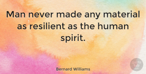 Positive Quotes, Bernard Williams Quote About Inspirational, Positive, Inspiring: Man Never Made Any Material...
