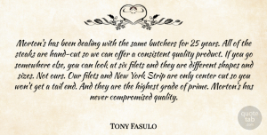 Tony Fasulo Quote About Butchers, Center, Consistent, Cut, Dealing: Mortons Has Been Dealing With...