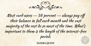 Sandra Quinn Quote About Balance, Card, Full, Length, Majority: Most Card Users 56 Percent...