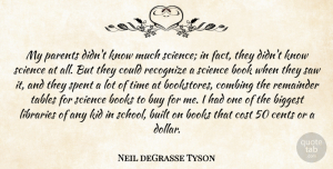 Cents Quotes, Neil deGrasse Tyson Quote About Biggest, Book, Books, Built, Buy: My Parents Didnt Know Much...