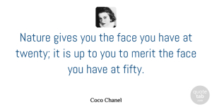 Birthday Quotes, Coco Chanel Quote About Funny, Birthday, Beauty: Nature Gives You The Face...
