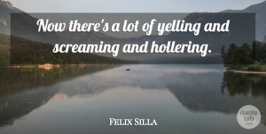 Felix Silla Quote About Screaming, Yelling: Now Theres A Lot Of...