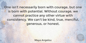 Inspiring Quotes, Maya Angelou Quote About Inspirational, Strength, Inspiring: One Isnt Necessarily Born With...