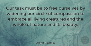 Albert Einstein Quote About Inspirational, Life, Beauty: Our Task Must Be To...