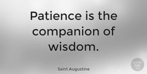 Wisdom Quotes, Saint Augustine Quote About Inspirational, Wisdom, Patience: Patience Is The Companion Of...