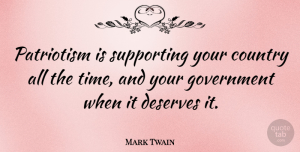Mark Twain Quote About Inspirational, Country, Memorial Day: Patriotism Is Supporting Your Country...
