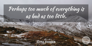 Littles Quotes, Edna Ferber Quote About Too Much, Literature, Littles: Perhaps Too Much Of Everything...