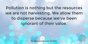 Business Quotes, R. Buckminster Fuller Quote About Business, Ignorant, Environmental Pollution: Pollution Is Nothing But The...