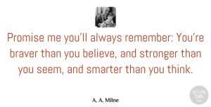 Being Strong Quotes, A. A. Milne Quote About Inspirational, Friends, Being Strong: Promise Me Youll Always Remember...