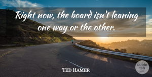 Ted Hamer Quote About Board, Leaning: Right Now The Board Isnt...
