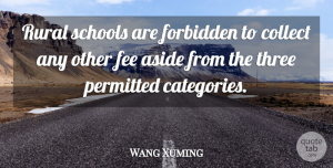 Wang Xuming Quote About Aside, Collect, Fee, Forbidden, Permitted: Rural Schools Are Forbidden To...