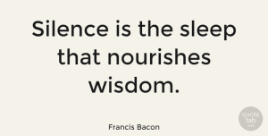Wise Quotes, Francis Bacon Quote About Wise, Wisdom, Clever: Silence Is The Sleep That...
