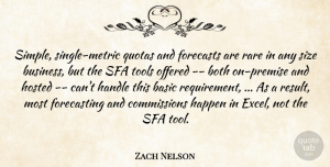 Zach Nelson Quote About Basic, Both, Forecasts, Handle, Happen: Simple Single Metric Quotas And...