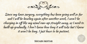Shoaib Akhtar Quote About Again, Bowling, Build, Far, Knee: Since My Knee Surgery Everything...