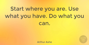 Arthur Ashe Quote About American Athlete: Start Where You Are Use...