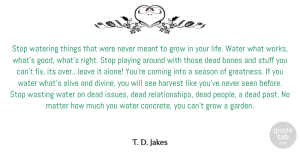 Greatness Quotes, T. D. Jakes Quote About Past, Greatness, Garden: Stop Watering Things That Were...