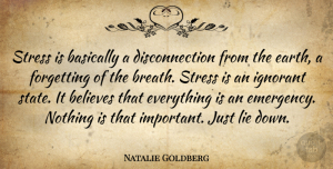 Lying Quotes, Natalie Goldberg Quote About Life, Stress, Lying: Stress Is Basically A Disconnection...