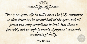 Tim Rocks Quote About Consumer, Contribute, Create, Economic, Expect: That Is An Issue We...