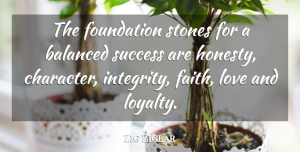 Zig Ziglar Quote About Success, Loyalty, Honesty: The Foundation Stones For A...