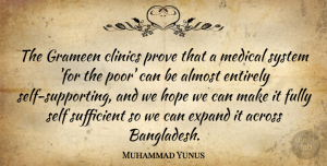 Hope Quotes, Muhammad Yunus Quote About Across, Almost, Entirely, Expand, Fully: The Grameen Clinics Prove That...