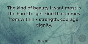 Inspiring Quotes, Ruby Dee Quote About Strength, Inspiring, Beauty: The Kind Of Beauty I...