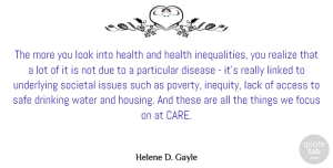 Access Quotes, Helene D. Gayle Quote About Access, Disease, Drinking, Due, Focus: The More You Look Into...