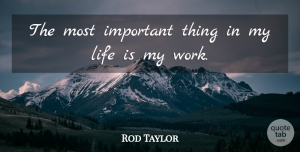 Rod Taylor Quote About Life: The Most Important Thing In...