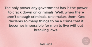 Men Quotes, Ayn Rand Quote About Wisdom, Power, Men: The Only Power Any Government...