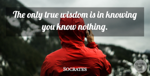 Wise Quotes, Socrates Quote About Wise, Wisdom, Knowing Nothing: The Only True Wisdom Is...