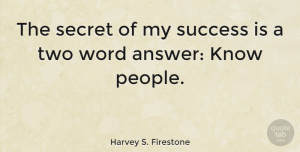 Leadership Quotes, Harvey S. Firestone Quote About Leadership, Congratulations, Two: The Secret Of My Success...