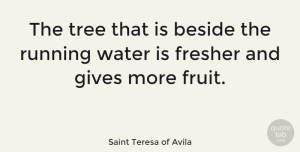 Nature Quotes, Saint Teresa of Avila Quote About Beside, Gives, Nature, Running: The Tree That Is Beside...