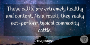 Tim Jenkins Quote About Cattle, Commodity, Extremely, Healthy, Typical: These Cattle Are Extremely Healthy...