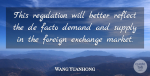 Wang Yuanhong Quote About Demand, Exchange, Facto, Foreign, Reflect: This Regulation Will Better Reflect...