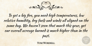 Tom Wordell Quote About Aligned, Burned, Dry, Fire, Fuels: To Get A Big Fire...