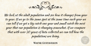 Wayne Gustaveson Quote About Adult, Catch, Changes, Changing, Collected: We Look At The Adult...
